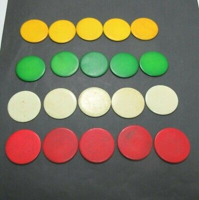20 x COLOURED ANTIQUE BONE  GAMING COUNTERS; ALSO USEFUL  FOR INLAY REPAIRS ETC