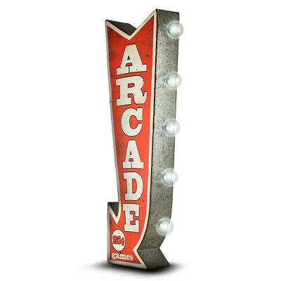 (ARCADE Arrow Double Sided Sign W/ LED Lights Game Room Bar Man Cave Retro Red 3D)