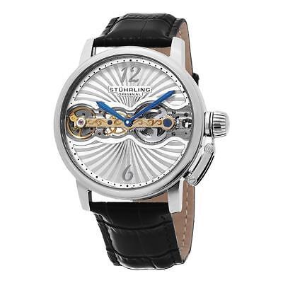 Stuhrling 729 01 Legacy Mechanical Hand Wind Skeleton Black Leather Mens Watch