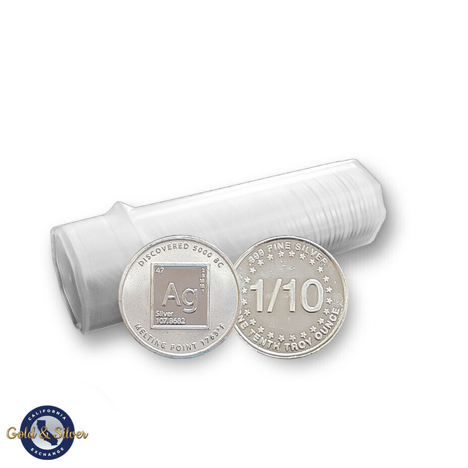 New 1//10 oz Mercury Design .999 Fine Silver Rounds Tube Roll Lot of 50