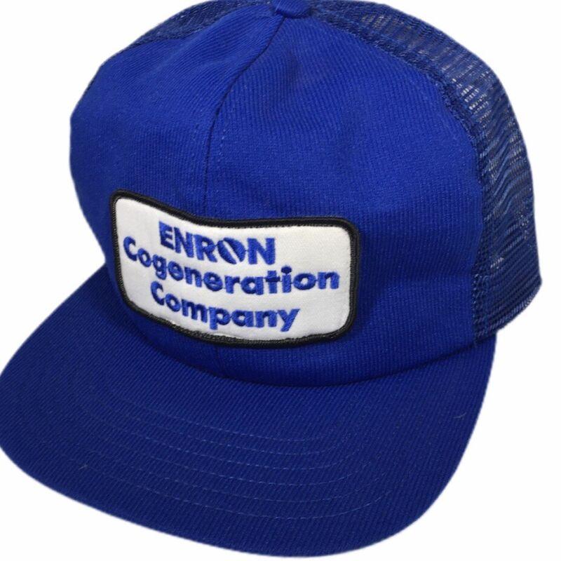 NOS New Vtg 80-90's ENRON Cogeneration Blue Mesh TRUCKER SnapBack Baseball Cap