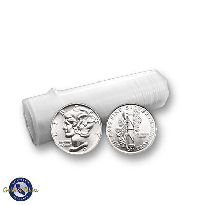 Lot of 50 -- New 1/10 oz Mercury Design .999 Fine Silver Rounds Tube Roll