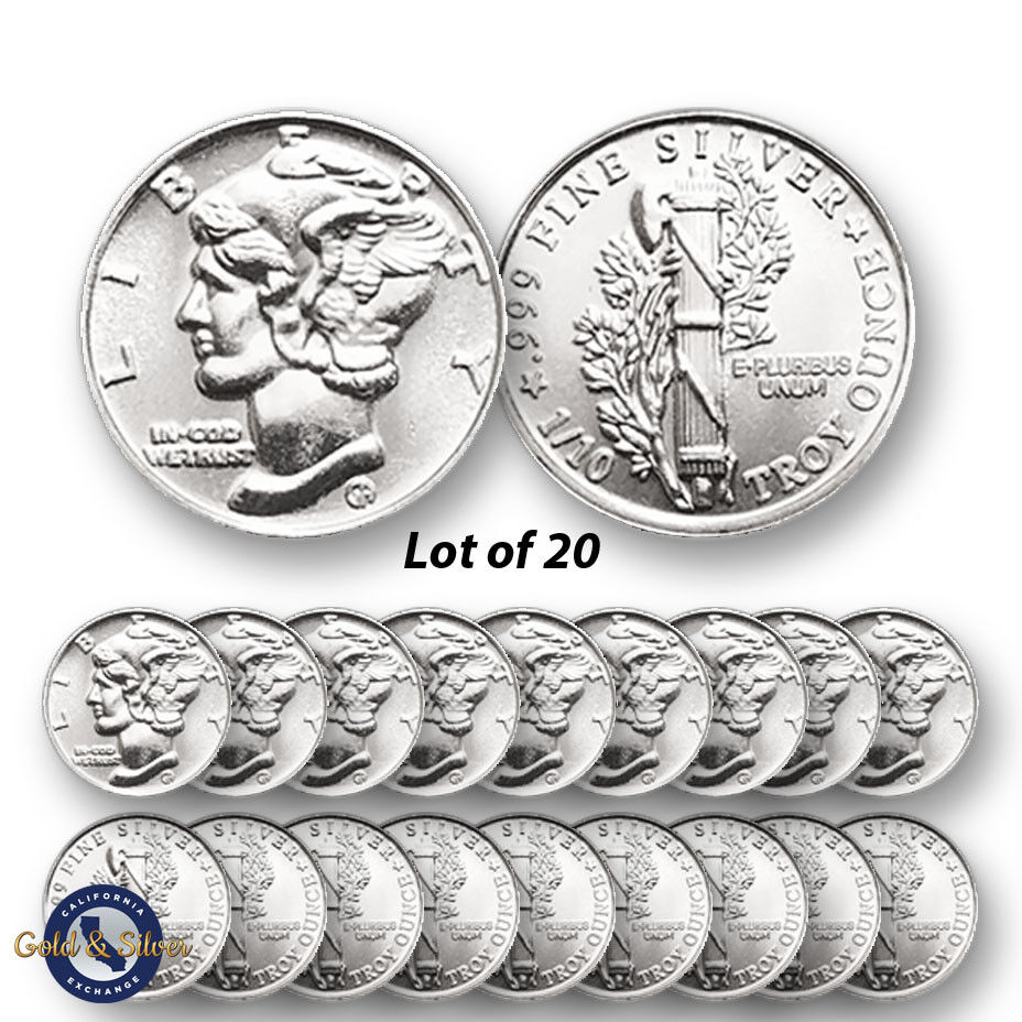 Lot of 20 -- New 1/10 oz Mercury Design .999 Fine Silver Rounds