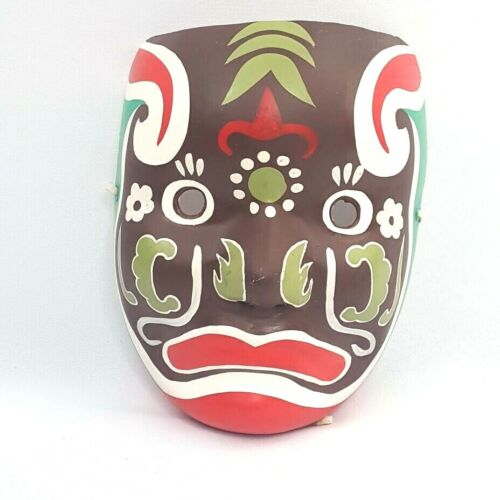 Vintage Rare Chinese Paper Mache Mask Brown Red White Green
