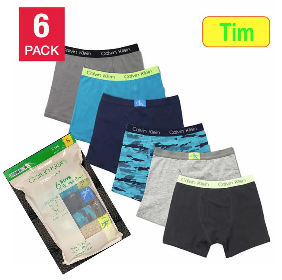 Calvin Klein Boys Boxer Brief Cotton Stretch 6 Pack Underwea