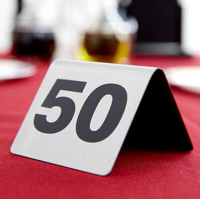 1-50 Stainless Steel 2 Silver Restaurant Table Tent Number Stand Seating Sign