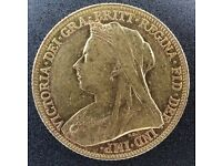 Full gold Sovereign coin Victoria 1901 M graded EF
