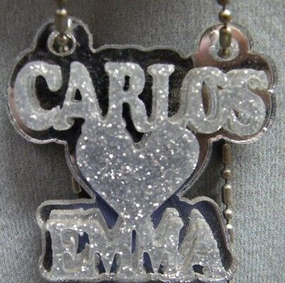 Couple Name Necklace Double Name Plate Personalize Heart Laser Cut Custom Design (Cut Couple)