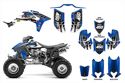 Honda TRX 450R Graphics Decal kit by AMG Durable Pliable 22 mil Thick #4444 Blue