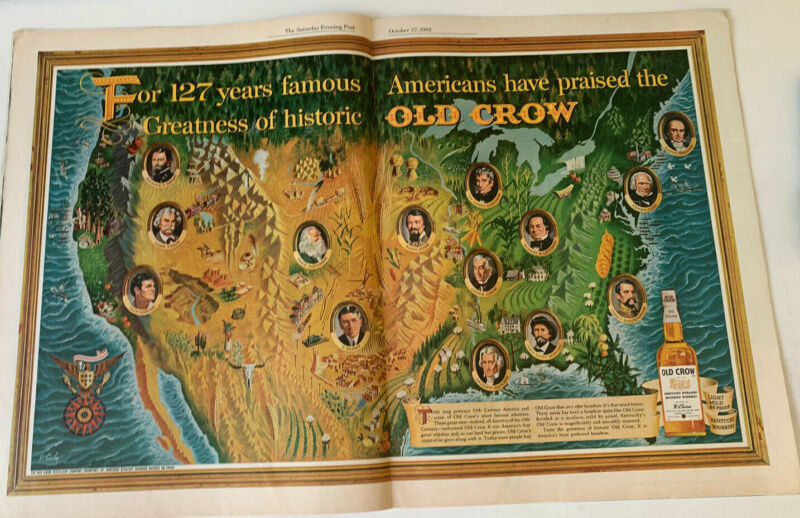 1962 Old Crow Bourbon whiskey USA map famous people vintage print ad A7