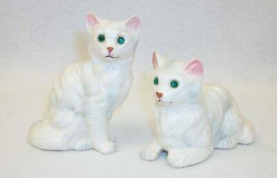Vintage Victoria Ceramicx MIJ White Persian Cat Jeweled Eyes Salt Pepper Shakers