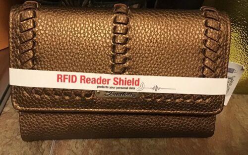 BUXTON WOMEN'S Mid Size Trifold w/RFID METALLIC GOLD NWT