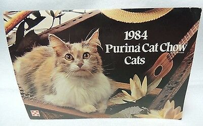 1984 Purina Cat Chow Cats Note Cards & Envelopes in Folder From Ralston Purina