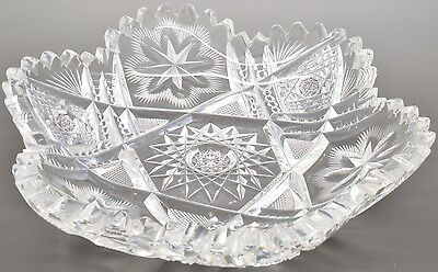 Antique Abp Signed Fry Cut Glass Low Bowl Pattern Double Star Brighton Pattern