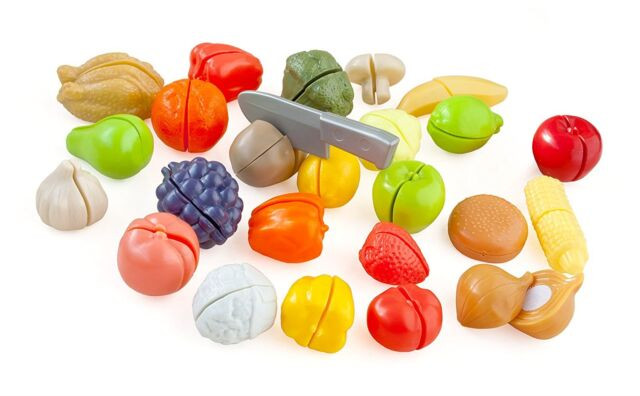 Casdon 619 Cut and Play Food 25 Pieces of Play Meat Veg Fruit to Cut Up NEW