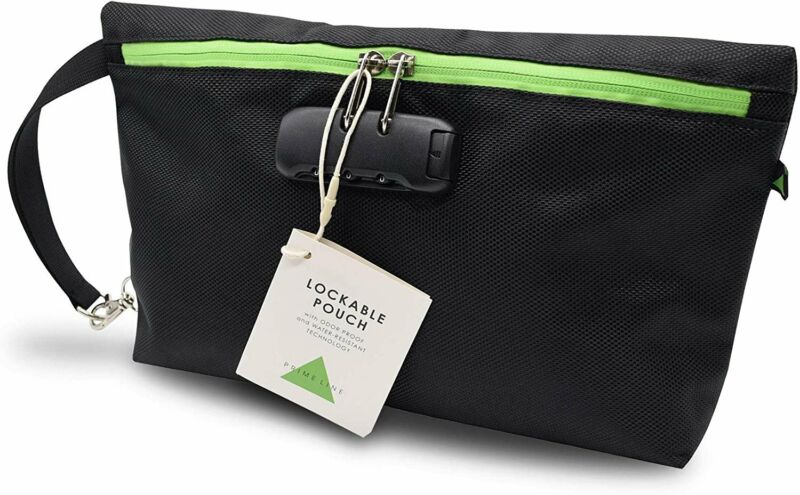 Odor Proof Polyester Zippered Pouch Bag with Lock Combination, Discreet Water...