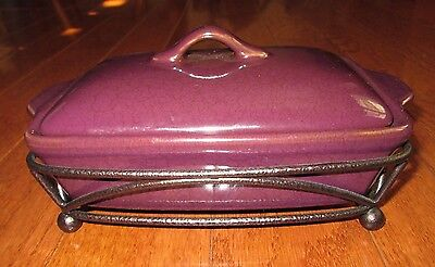 TASTEFULLY SIMPLE MINI CASSEROLE w/LID & METAL STAND for HOT OR COLD DIPS preown
