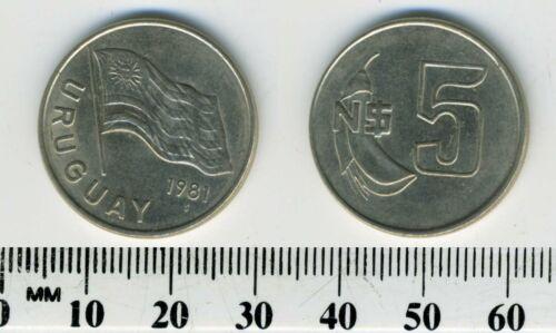 Uruguay 1981 - 5 Nuevos Pesos Copper-Nickel Coin - National flag - Flower