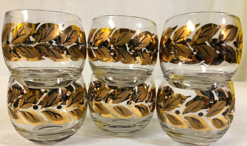 6 Vintage MCM Gold and Black Leaf 8 oz. Roly Poly Glasses