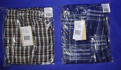 (2 NWT Wes & Willy PLAID blue/yellow black/red FLANNEL lounge COTTON pants BOYS 7)