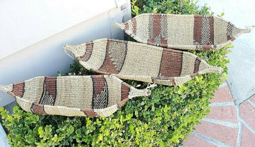 Ethiopian vintage Woven Gambela Basket Canoe-Shaped African Art Décor Baskets