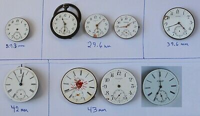 9-lot Old LONGINES POCKET WATCH movements various size & calibers PARTS + REPAIR