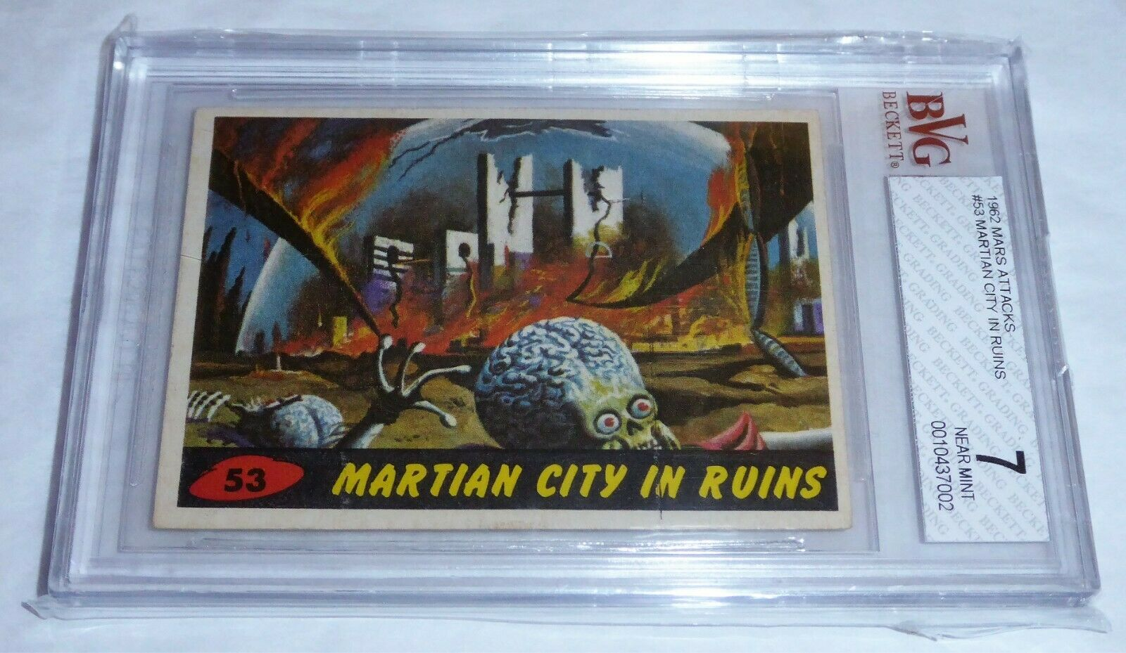 1962 Mars Attacks Card #53 Martian City In Ruins BVG 7 Like PSA Aliens UFO Topps