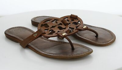 27-26 MSRP $198 Women's Size 9 M Tory Burch Miller Brown Leather Logo Sandal