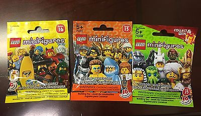 NEW SEALED LEGO MINIFIGURES SERIES SHARK SUIT, HOT DOG GUY AND BANANA SUIT GUY