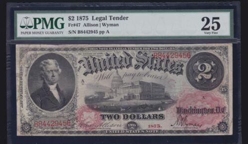 US 1875 $2 Legal Tender FR 47 PMG 25 VF (-945)