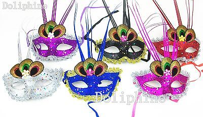 Masquerade Ball Mardi Gras Lace Mask with Peacock Feather eye (Buy 1 get 1 free)