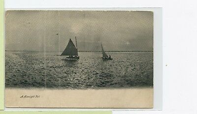 VINTAGE 1907 DB Postcard ~ A Moonlight Sail ~ Sailboats