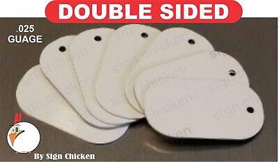 White Aluminum Dye Sublimation Dog Tag Blanks - DOUBLE SIDED - 50 PIECE LOT*