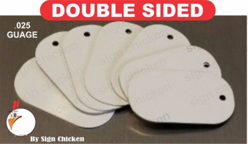 White Aluminum Dye Sublimation Dog Tag Blanks -  DOUBLE SIDED - 100 PIECE LOT