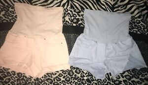 EUC 2 pairs of pretty Maternity Shorts size Large