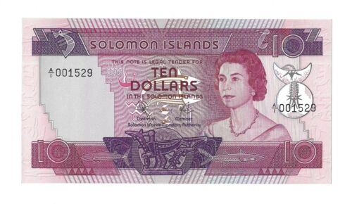 SOLOMON ISLANDS $10 Dollars 1977, P-7a, A/1 001529, Choice aUNC, QEII Type