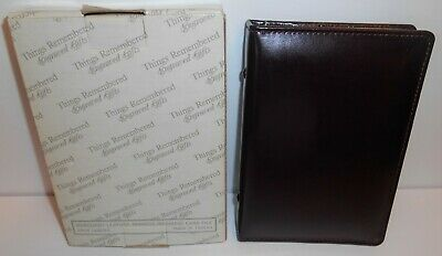 Things Remembered Burgundy Cowhide Leather Address Business Card File New Old - Cowhide Leather Business Card File