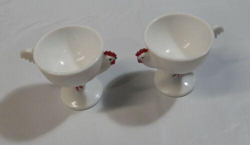 2 Vintage Westmoreland Milk Glass Rooster Egg Cocktail Sherbet Glasses
