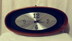 Vintage Mid Century Modern Elgin Wood Oval Wall Clock Battery Operated