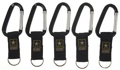 US Army Carabiner Logo Keychain Lot 5 Black Key Holder Fob Military Clip Belt Black Carabiner Key Holder