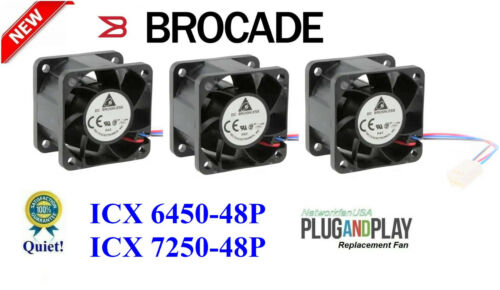 3x Quiet Replacement Fans for Brocade ICX 6450-48P ICX7250-48P (Plug-and-Play)