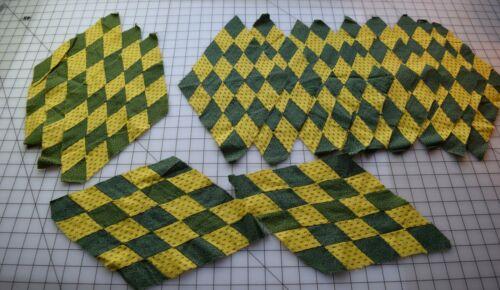9248 14 antique 1840s Diamond quilt blocks, fabulous green/yellow
