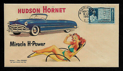1951 Hudson Hornet & Pinup Girl Featured on Collector's Envelope *OP418