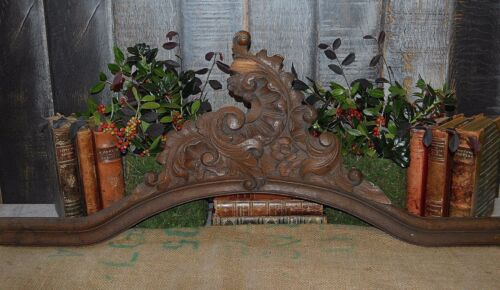 Antique French Large Carved Wood Arched Pediment Mount