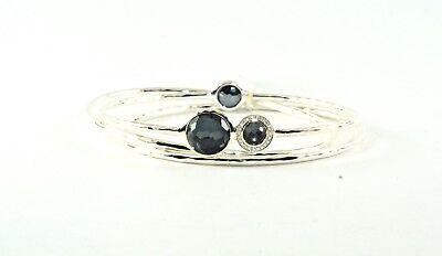 IPPOLITA Hematite Bangle Sterling Silver .925 Diamond Station Bracelet Trio Set