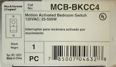 Pass Seymour Legrand Mcb Bkcc4 Motion Activated Switch Black