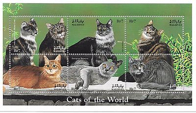 MALDIVES - CATS OF THE WORLD, 1998 - SC 2309 SHEETLET OF 6 MNH