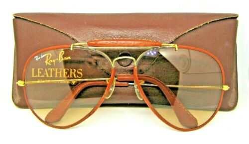 Ray-Ban USA Vintage B&L Aviator Leathers 62mm Brown Photo-Changeable Sunglasses