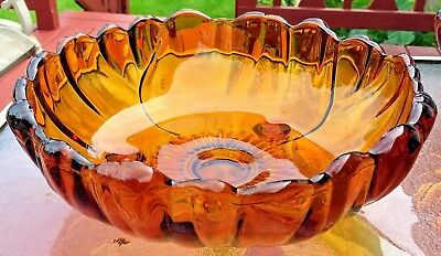 """Vintage Colony Glass Three Footed Bowl Petals Amber Pattern 11"""" Wide Collectible"""