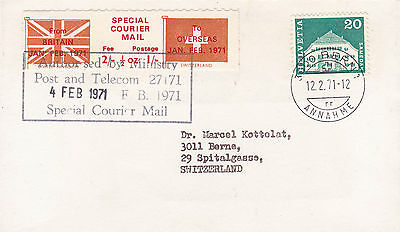 1971 STRIKE MAIL SPECIAL COURIER MAIL COVER UK TO SWITZERLAND